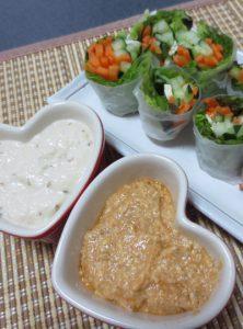 2種類の豆腐ソースで食べる生春巻き